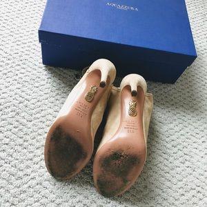 Aquazzura Shoes - Aquazzura Mayfair Nude Suede Peep Toe Booties